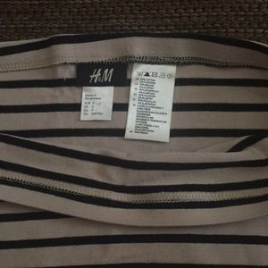H&M Skirts - Tan/Black Stripe Stretch Bodycon Mini Skirt
